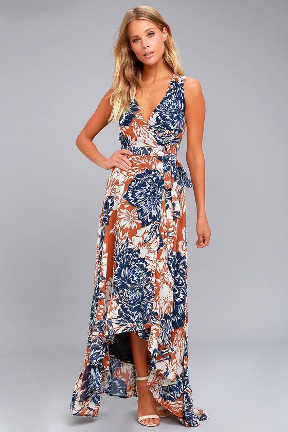 c1143cc3b1 The Desert Trip Rust Orange Floral Print High-Low Wrap Dress is a day trip  stunner! Lightweight woven chiffon