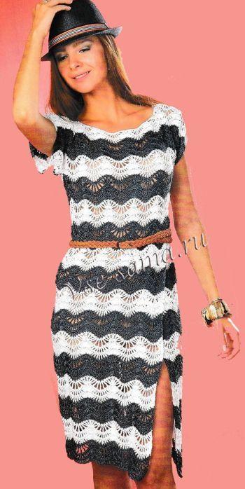 Платье крючком - Морские волны