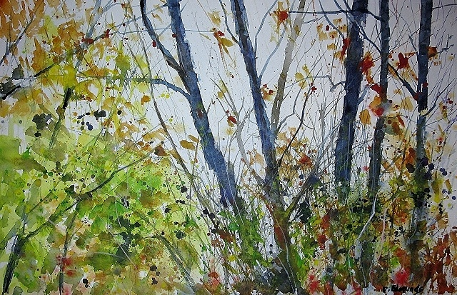 """This one is a watercolor with some white gouache...""""Fall Branches""""."""