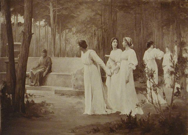 Purgatorio, Canto XXX, Dante op het moment dat hij op de grens van het paradijs is aangekomen en zijn geliefde Beatrice weerziet. Hij wil zijn vreugde over dit weerzien delen met zijn gids Vergilius, maar deze blijkt dan verdwenen te zijn. Dante barst in tranen uit. Volgens Beatrice hoeft Dante niet te huilen om Vergilius, er zullen belangrijkere dingen gebeuren om over te treuren. Marcel Rieder (1862 –1942) een Franse schilder (foto 1894)