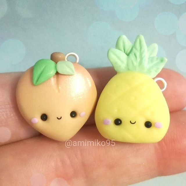 #kawaii #charms #polymer #clay #peach #pineapple