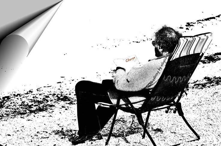 """— """"Singularity"""" — At the sea I saw this gentleman alone. I do not know what he was reading; But I imagined it to be something very interesting to sit so in the cold, with only a sweater, a deck chair and a book! So, in this photo editing, I wanted to stand out the """"turn the page"""" and the word """"change"""" - held by a paper clip. And nothing more.   ✔ https://500px.com/alogico/marketplace ✔ alogico@libero.it"""
