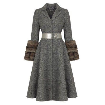 Wool coat with fur trim