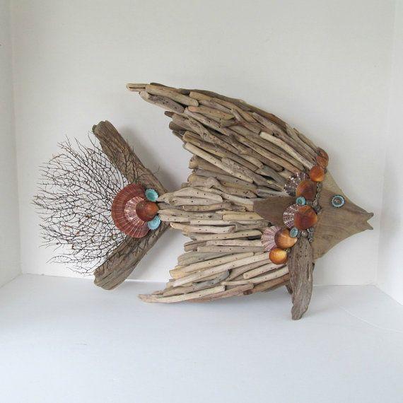 Driftwood Art Sculpture Fish Angelfish Shells by SandisShellscapes. Etsy.com  $150.00