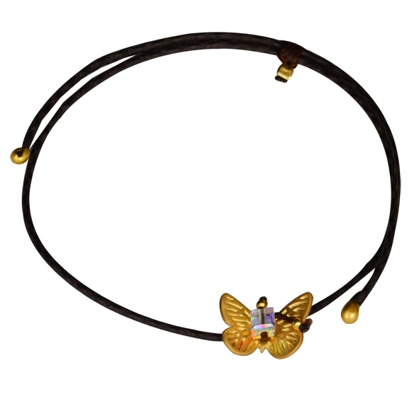 """Bracelet """"Butterfly""""    Leather bracelet with a silver 925, gold plated butterfly shaped element hanging.  In the middle, there is clear swarovski."""