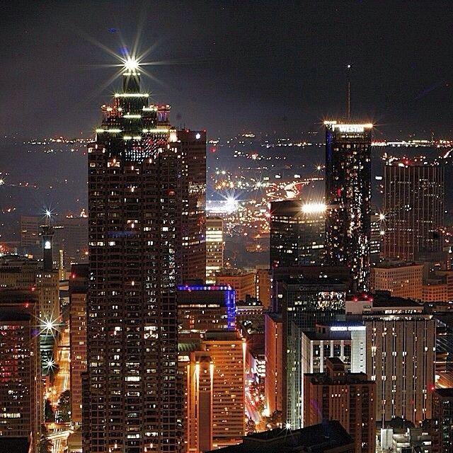 Atlanta sparkles at night.