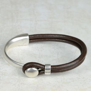 Eros Silver Plated Leather Mens Bracelet - men's jewellery