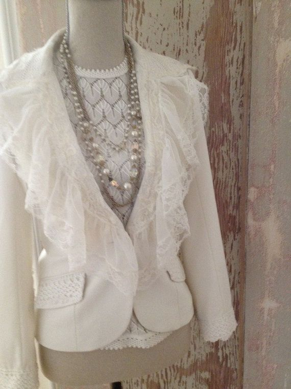 Reservedfor Stephanie Cream Upcycled jacket with by coveredinlace, $125.00