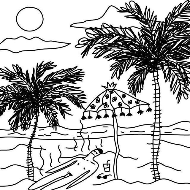 DREAMIN' OF A BETTER PLACE  #proyecto89 #illustration #digitalart #digitalillustration #drawing #drawings #dreaming #palmtrees #bythesea #vacations #needtogo #blackandwhite #art #beach #rad #nude #sun #sketchy