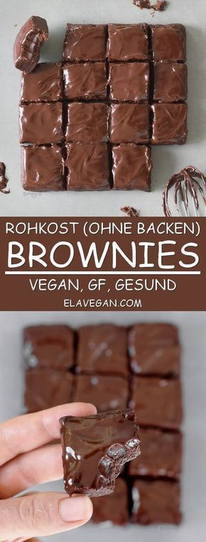 Rohkost Brownies Rezept vegan glutenfrei gesund ohne backen rohvegan Pinterest
