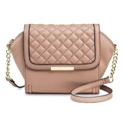 Women's Quilted Mini Crossbody Handbag - Pink Rose
