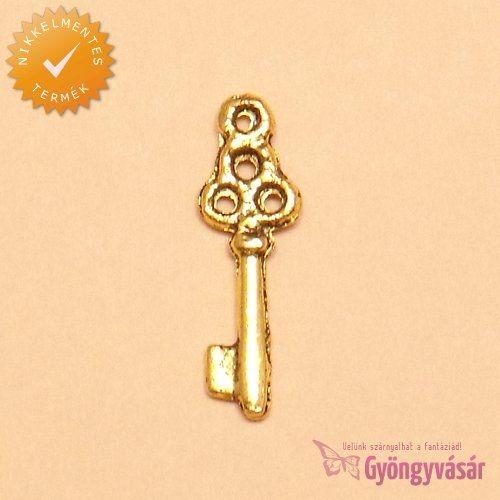 Aranyszínű kulcs - nikkelmentes fém fityegő