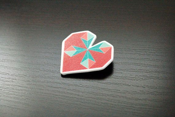 Adorable Pink and Blue Origami Heart Brooch by PaperAlphabet, $10.00