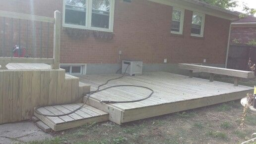 The deck all cleaned with Behr all-in-one wood cleaner. All ready for the Behr deck over paint.