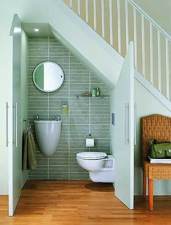 Relocating the half bath across the hall and putting it under the stairs can really provide us with some options for a future kitchen expansion. - CH by Superduper