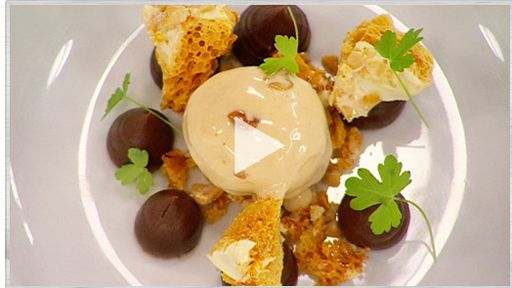 Chocolate Ganache with Peanut & Caramel Ice Cream and Honeycomb-Masterchef Australia Masterclass
