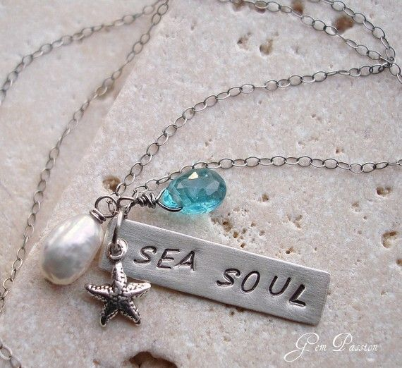 Sea Soul Sterling Silver Bar Necklace,Apatite Gem, Silver Starfish, White Keishi Pearl, Beach Girl Necklace Handmade, Stamped