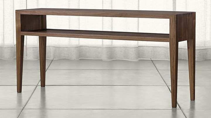 Marin Shiitake Solid Wood Console Table Displaying Shelf Storing