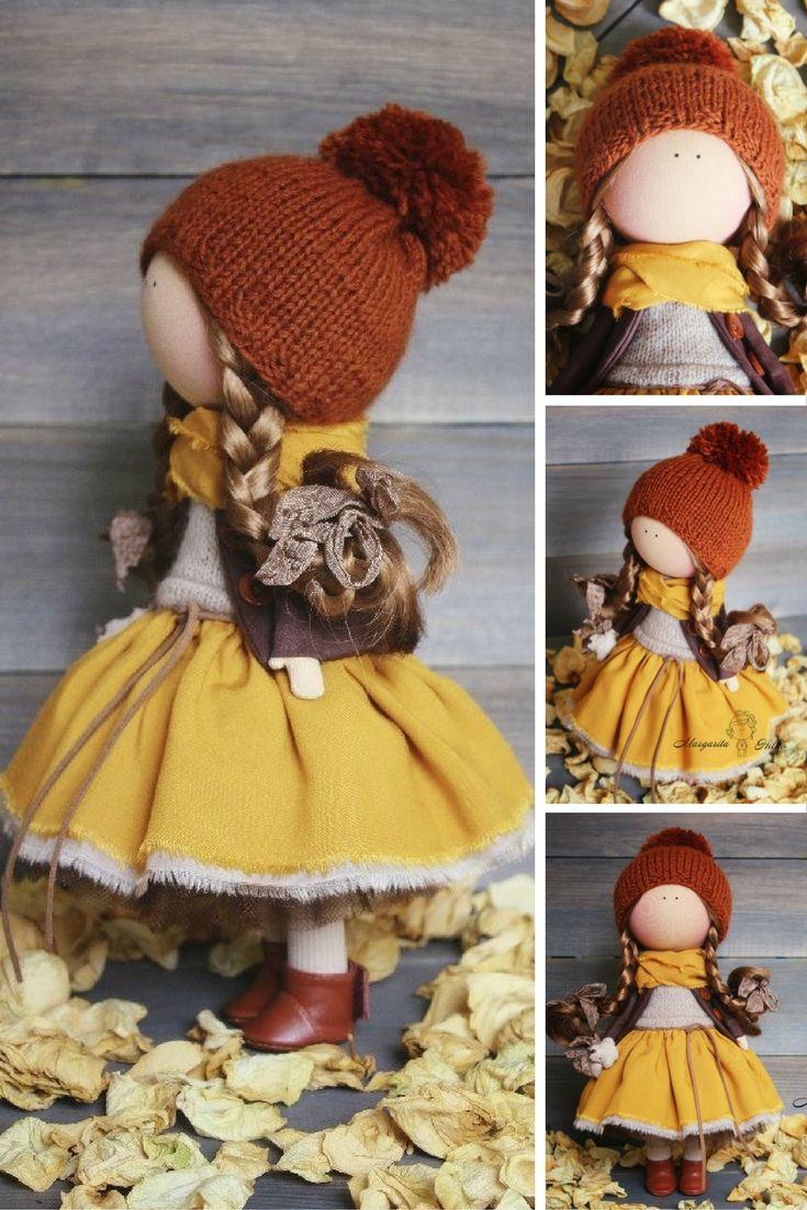 Soft doll Handmade yellow red Baby doll Tilda doll Cloth doll Art doll Fabric…
