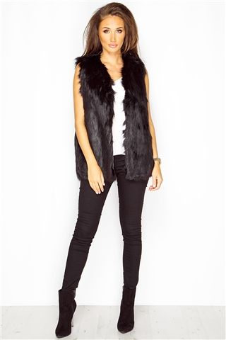 Megan McKenna Black Faux Fur Gilet