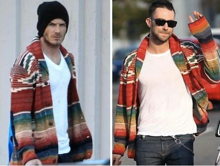 Two men with great style, David Beckham and Adam Levine, are both pulling of a daring look. But I love it. This casual, navajo-looking sweater is Ralph Lauren RRL!