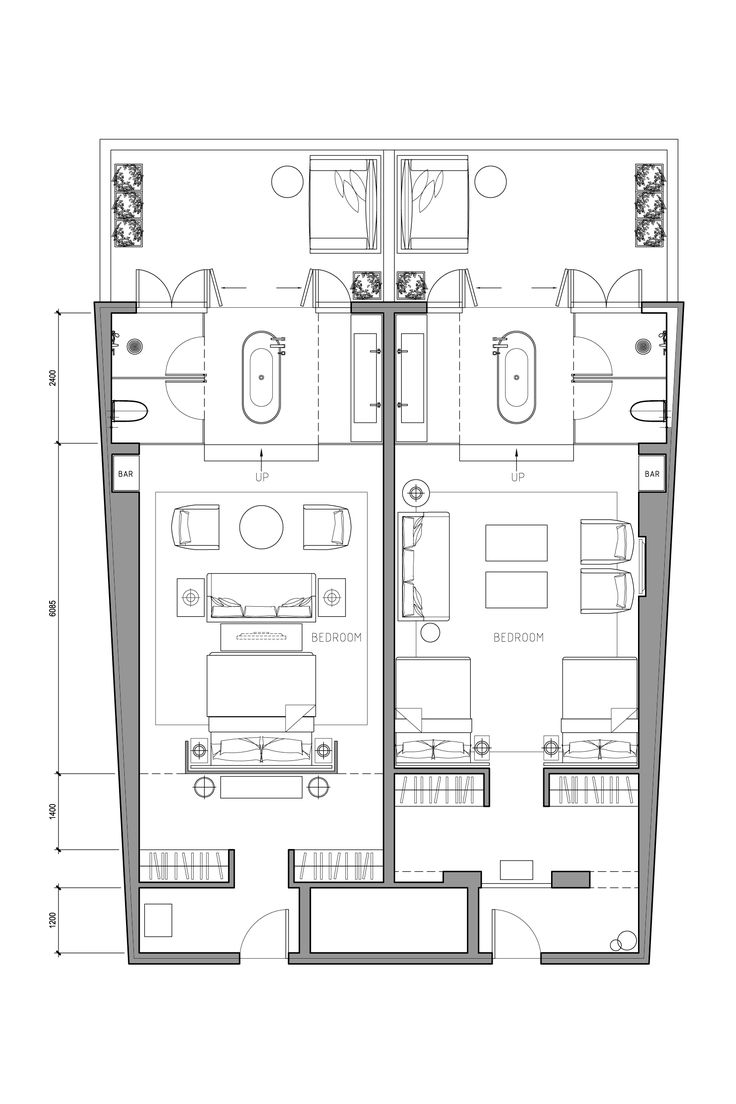 Flat Hotel Plan Architectural