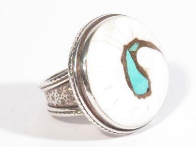 Anello in argento, conchiglia fossile e turchese-Gioielli Etnici-Atlantide