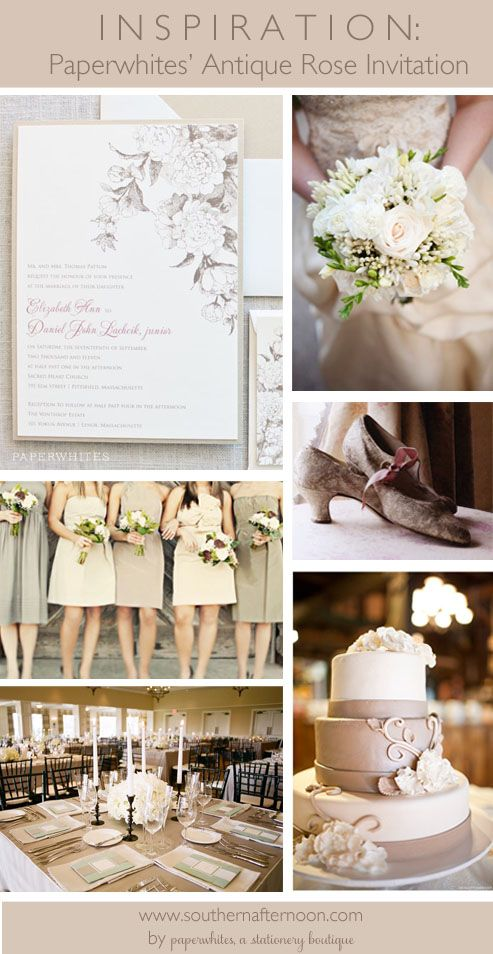 Paperwhites pinboard including our Antique Rose Wedding Invitation.  Including great taupe bridesmaid dresses, pretty vintage shoes and beautiful white roses.  Also love the great taupe wedding cake.
