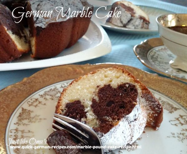 This German Marble cake, http://www.quick-german-recipes.com/marble-pound-cake-recipe.html , is just what my Hubby always asks for. Easy to make and so delicious!