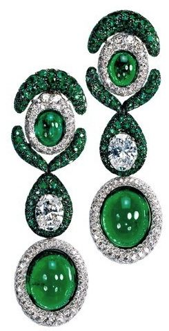 Emerald and Diamond Drop Earrings By Jewelry Designer de Grisogono