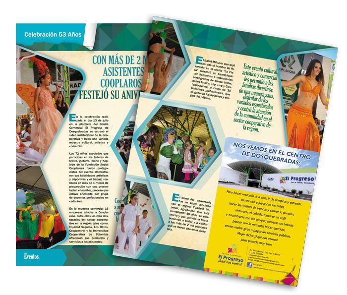Diseño y diagramación de la revista CRECER de la Cooperativa la Rosa en Pereira para 2013. Acá páginas centrales.