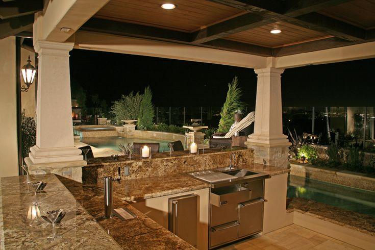 custom design covered patios   Custom outdoor stone patio ... on Custom Backyard Designs id=81828