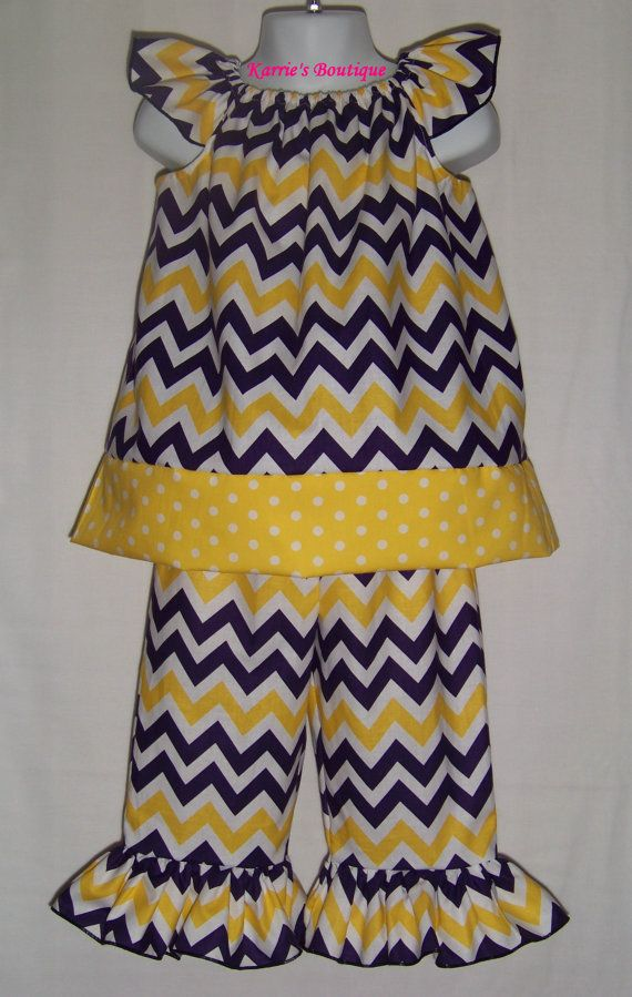 LSU CHEVRON Outfit / LSU Baby / Tigers / Game by KarriesBoutique, $54.95