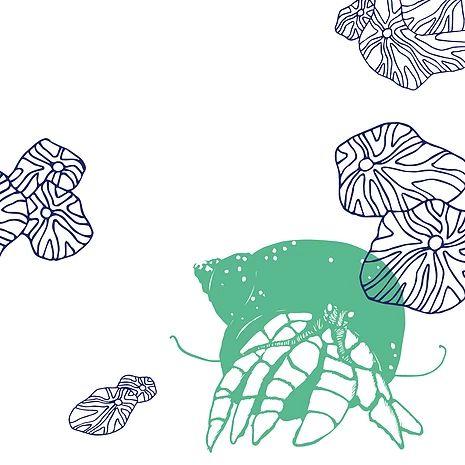 Illustration Bernard l'hermite - Sous l'océan, c'est un projet entre Aurore & Cécile, deux graphistes, autour d'un thème qui mélange dessins, motifs, typographie et sérigraphie.