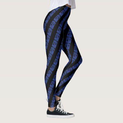 Blue Police Box Striped Leggings in black - blue gifts style giftidea diy cyo