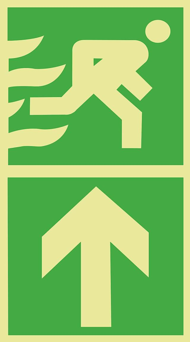 Science Laboratory Safety Signs: GreenEscape Route Sign