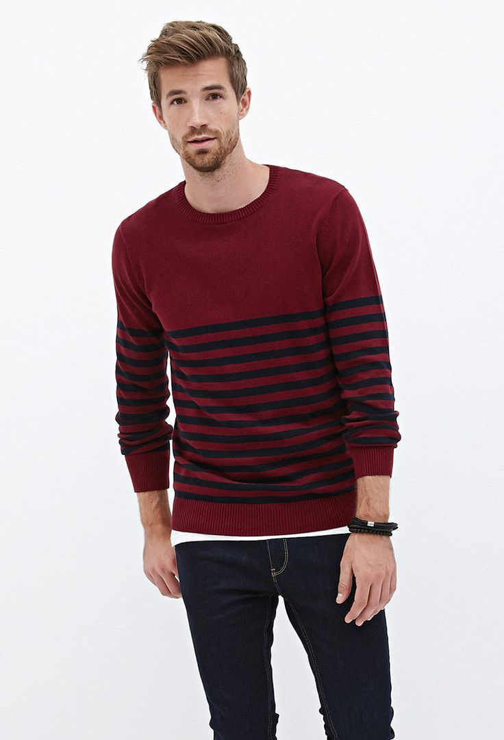 Ribbed Knit Striped Sweater #21Men | M_style