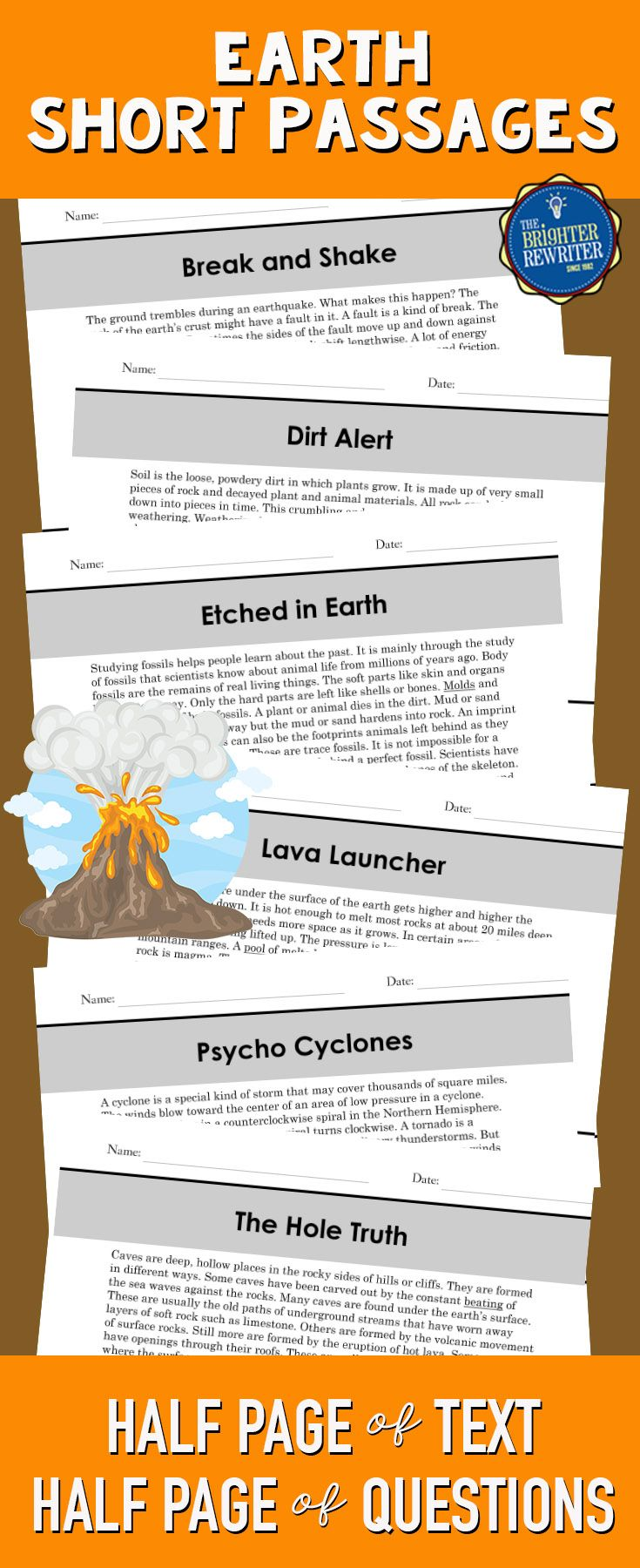 Build comprehension in 3rd-5th using these 6 nonfiction mini-passages, each featuring informational text and 4 multiple-choice comprehension questions on one page. The paragraphs are about earthquakes, weathering and soil, fossils, volcanoes, tornadoes, and caves. The questions include a variety of reading skills and are modeled after the types of questions on standardized reading tests.