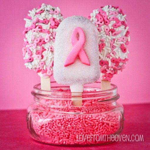 Breast Cancer Awareness Pink Ribbon Cakescicles