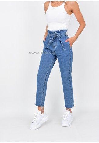 7cc3cabb2173 Jean mom taille haute avec ceinture à nouer   Fashion   Mom jeans ...