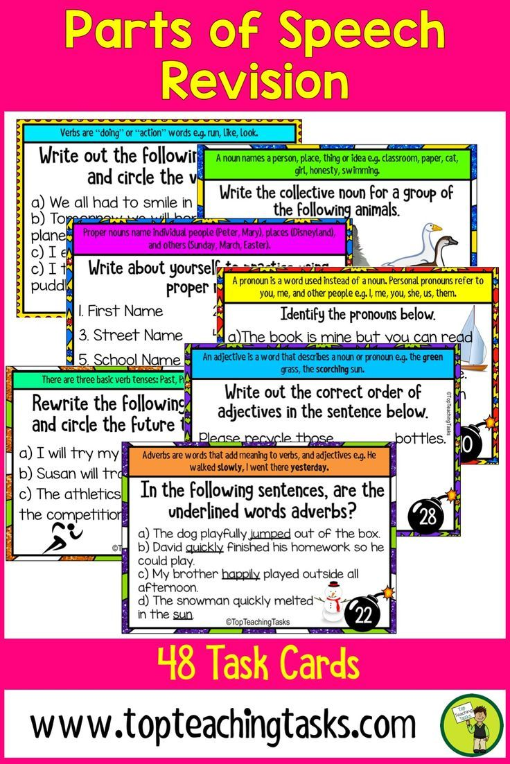 These Parts of Speech activities feature 48 task cards for Grade 3, Grade 4, and Grade 5 (Year 3, Year 4, Year 5, Year 6). Develop your students' understanding of the important parts of speech. Featuring nouns, pronouns, proper nouns, verbs, adverbs, verb tenses, adjectives, prepositions, and conjunctions. Suitable for Grade Three and Four. 3rd Grade, 4th Grade, 5th Grade Parts of Speech.