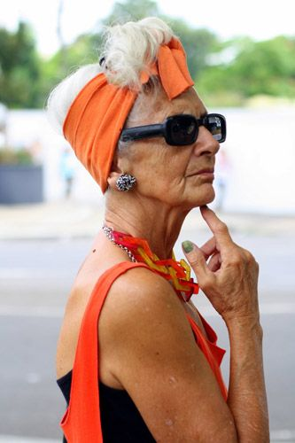 """stylin' 70 yr. old: """"Bridget Sojourner is a model activist from London. 'As a young girl, no one stopped me. I was quite like a lot of young girls. Now, I'm unusual because I'm older. When people started stopping me about my clothes I thought, I've been through feminism, racism, all the prejudices... I'm an activist and Ageism is the last bastion.'"""""""
