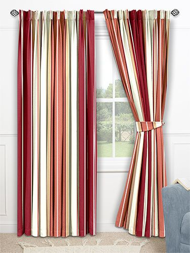 Candy Stripe Red Curtains from Curtains 2go