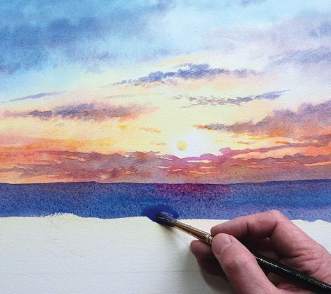 How to paint a sunrise and sunset #watercolor jd                              …