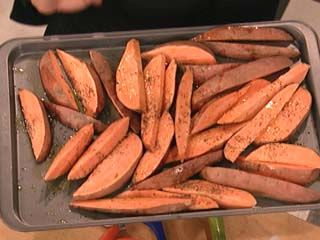 Sweet Potato Oven Fries - use wire cooling rack on top of cookie sheet - heat can get to all sides of fries!