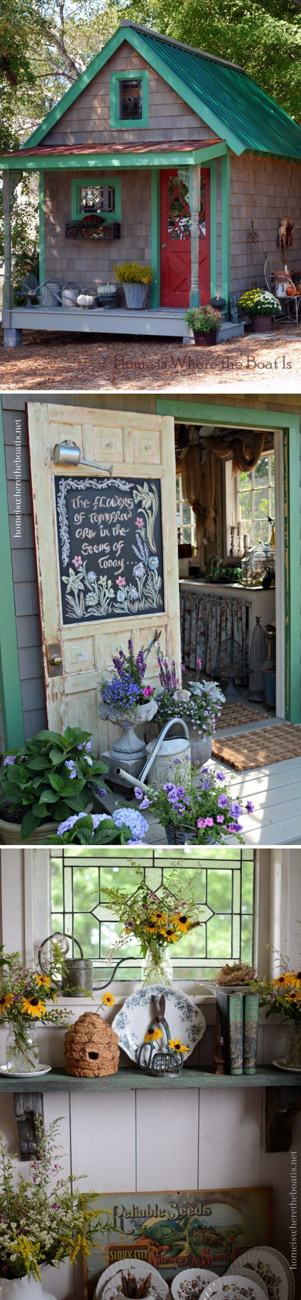 Acquiring a she-shed is exciting!  Decide what you wish your special hideaway for - what is the passion you are looking to have some alone time to enjoy?  Several different decors shown here... http://gailcorcoran.realtor #shesheds #typesofshesheds #makingasheshed