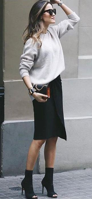 fall street style. knit top. wrap midi skirt. ankle boots.