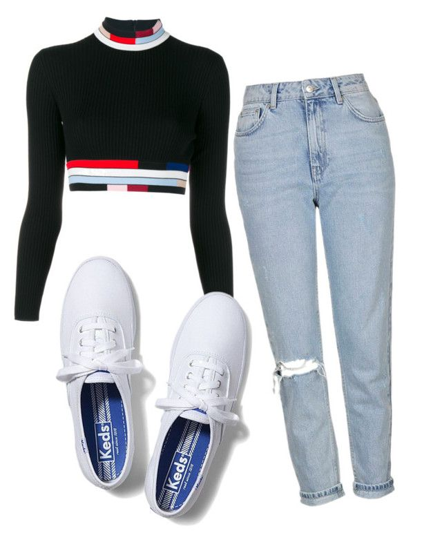 """""""Monica Geller"""" by ssaraerica ❤ liked on Polyvore featuring Christopher Kane, Topshop and Keds"""