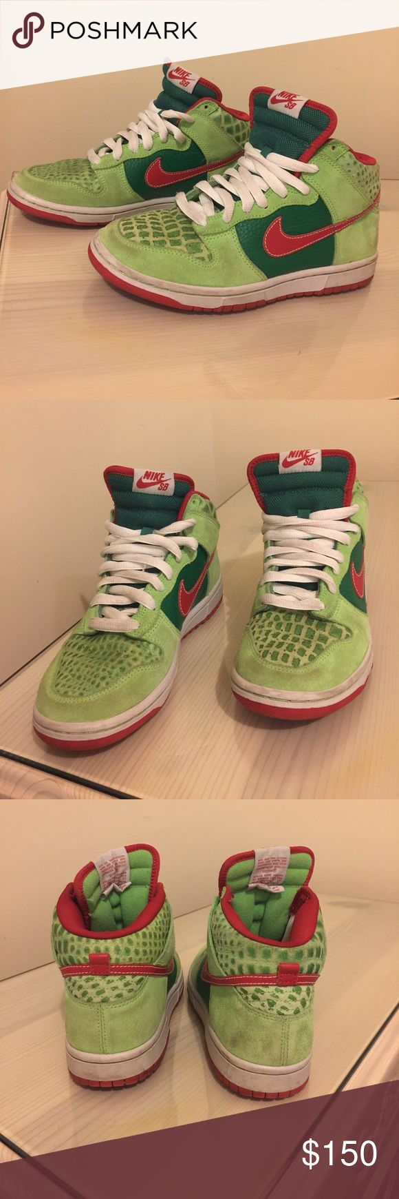 """NIKE SB HIGH TOP DUNKS """"Dr. Feelgood"""" Worn with love, green pebble and red Nike high top dunks. Very rare sneaker. Extremely comfortable. Some scuffs on both sides of shoes but not that noticeable when being worn. Nike Shoes Sneakers"""