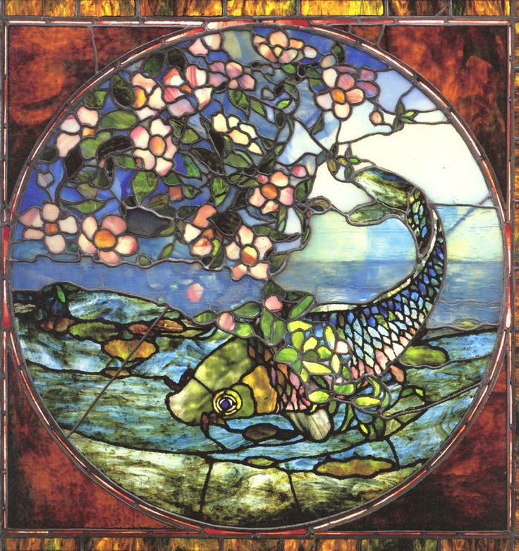 John La Farge, Fish and Flowering Branch Stained Glass window c.1896 Museum of Fine Arts Boston